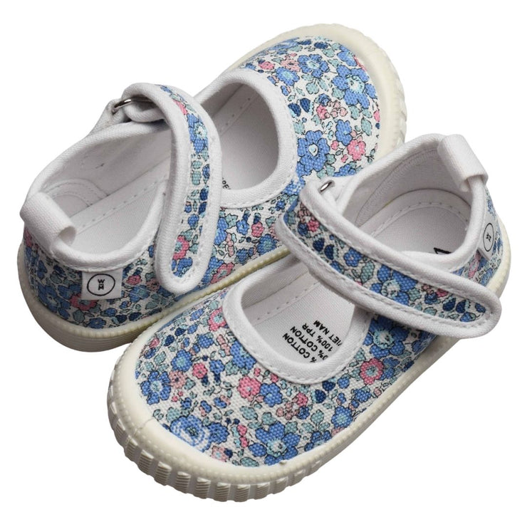 Walnut Melbourne Liberty Canvas Betsy Ann Blue girls shoe