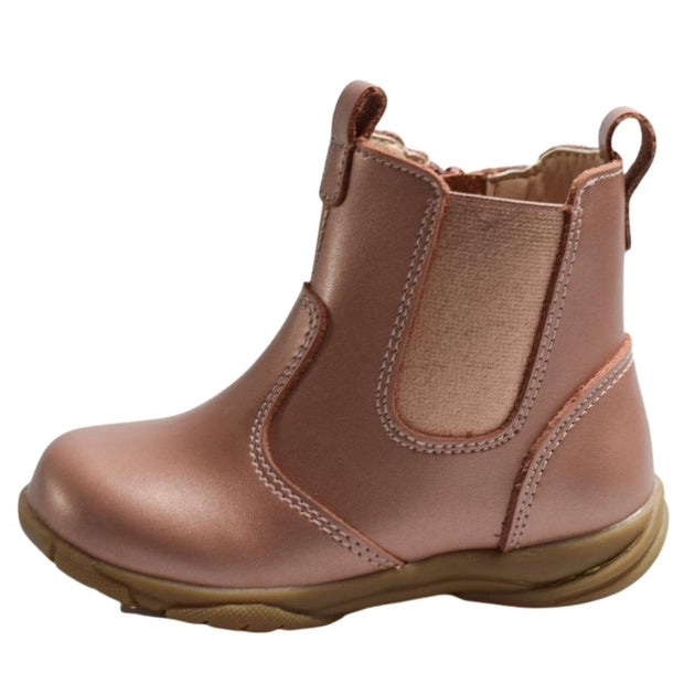 Walnut Melbourne Rose Gold toddler boots side view