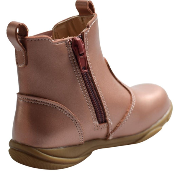 Walnut Shoes toddler boots rose gold zipper view