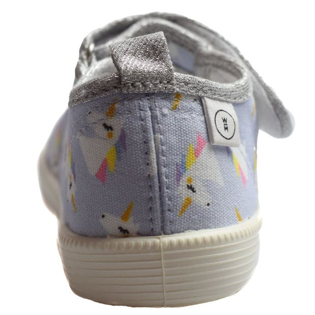 Walnut Melbourne Rocky unicorn kids canvas shoes heel view