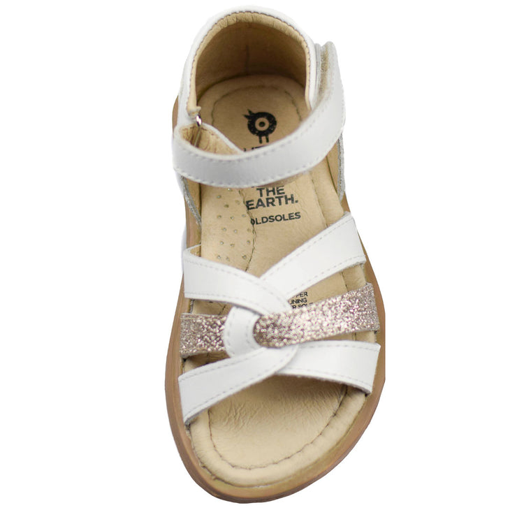 Old Soles Clarise White Sandals for girls top view