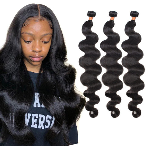 Brazilian Body Wave Hair Weave Bundles 30 40 inch Short Long Natural Human Hair Bundles Non-remy extensions 4 pieces Firstwig