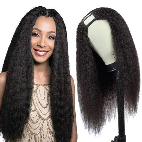 Brazilian U Part Wig Human Hair Kinky Straight Wig 180% 250 Density Remy Glueless Wig Pre Plucked For Black Women 8-24 Inch