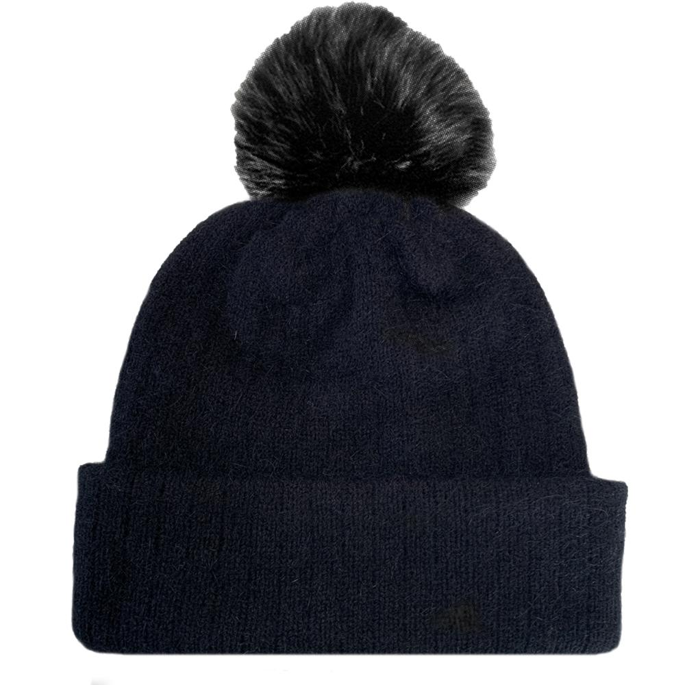 TRUZEALIA Finest Possum Merino Blend Kid's Pom Pom Beanie - Black