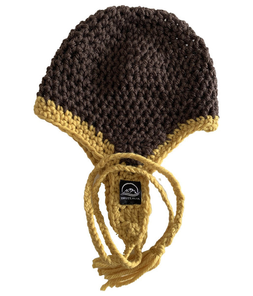 Brown & Mustard Crochet Hat with Ear Flaps – Pure NZ Wool - Truzealia