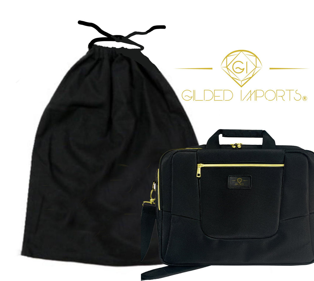 Gilded Imports Designer Laptop Bag 15.6-Inch Lightweight Black & Gold