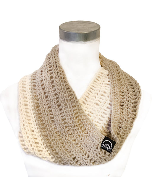 Cream & Tan Crochet Cowl – Pure Wool - Truzealia