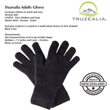 Load image into Gallery viewer, Truzealia Finest Possum Merino Blend Winter Gloves - Black - Adults