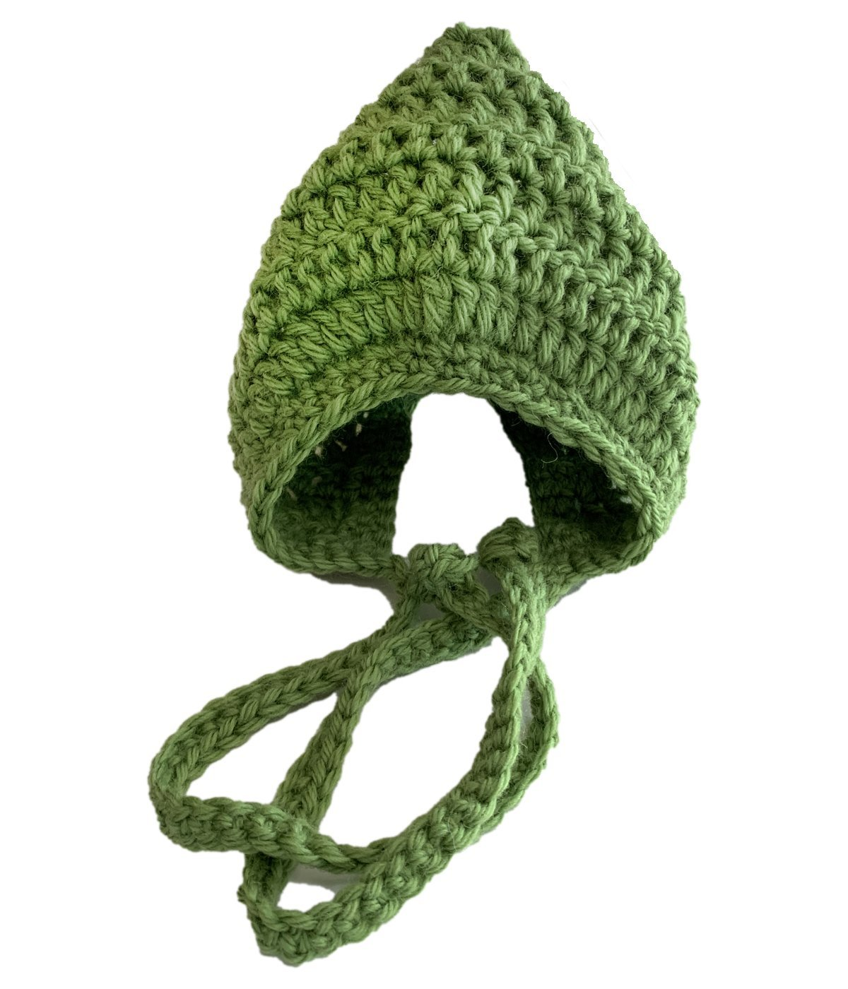 Green Crochet Bonnet – Newborn Size – Pure NZ Wool - Truzealia