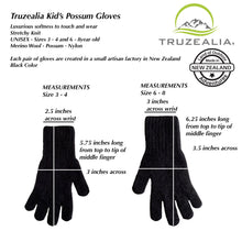 Load image into Gallery viewer, Truzealia Finest Possum Merino Blend Kid's Gloves - Black Size 3 -4 Years and 6-8 Years