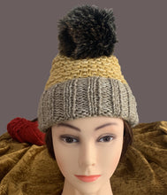 Load image into Gallery viewer, Mustard & Tan Pompom Beanie - Truzealia