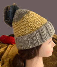Load image into Gallery viewer, Mustard & Tan Pompom Beanie