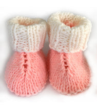 Load image into Gallery viewer, White and Pink Bonnet and Booties – Newborn - Truzealia