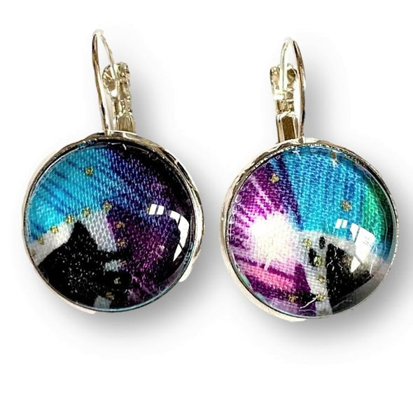 Cabochon Earrings in Purple Blue Black