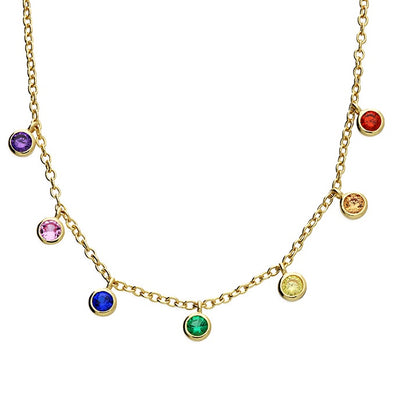 Rainbow CZ Gold Plated Silver Necklace
