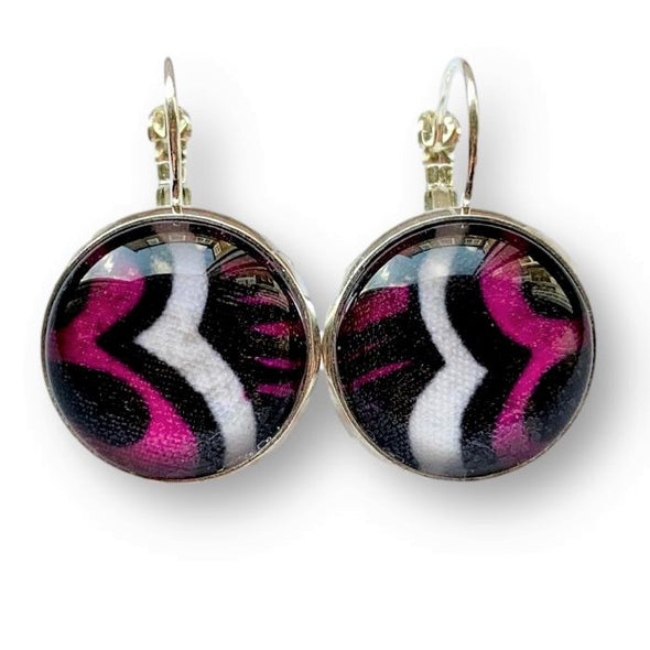 Cabochon Earrings in Purple Black and Cream