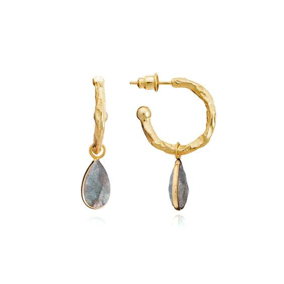 Athena Hammered Gold Plated Hoop with Labradorite Drop