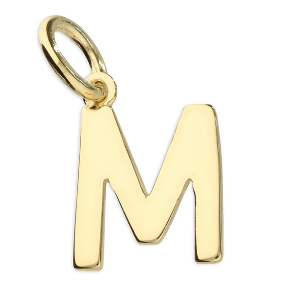 Gold Plated Silver Initial Necklace - M