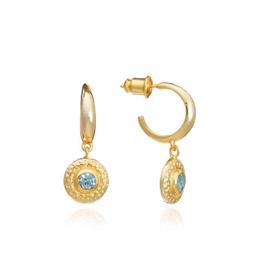 Gold Plated Half Hoop with Blue Topaz Disc Drop