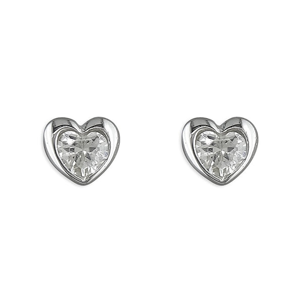 Rub-Over Heart CZ Silver Stud