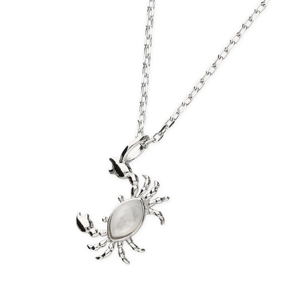 Mother of Pearl Crab Silver Necklace