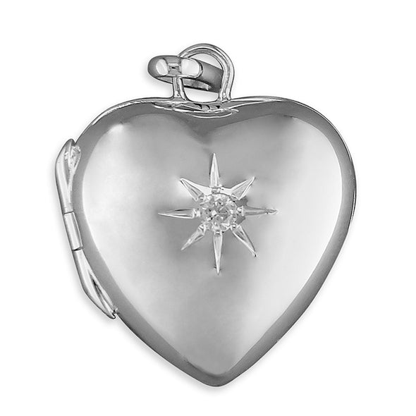 Star CZ Silver Heart Locket