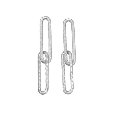 Silver Long Link Earrings