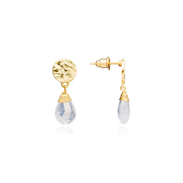 Gold Plated Disc Earring with  Moonstone Gemstone