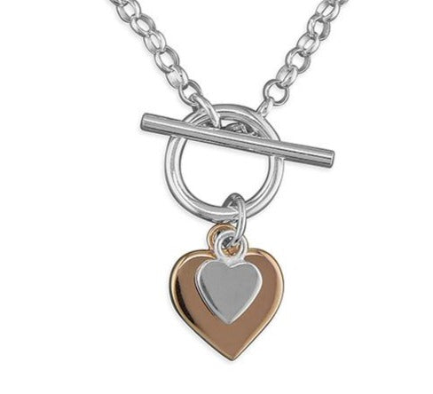 T-Bar Silver necklace with Rose Gold Silver Hearts