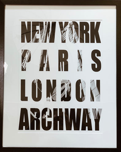 New York London Paris Archway Giclee Print (Framed)