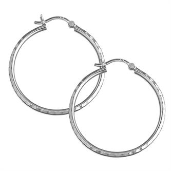 Creole Faceted Hoop Silver Earrings