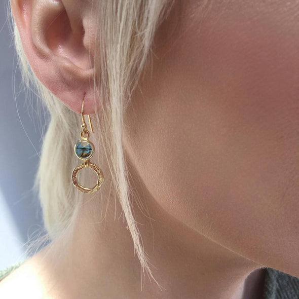 Hoop and Labradorite Gemstone Earring