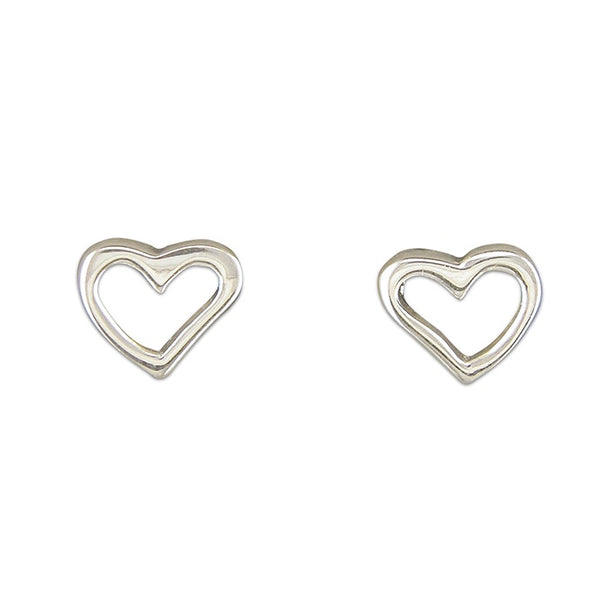 Open Heart Silver Stud Earrings