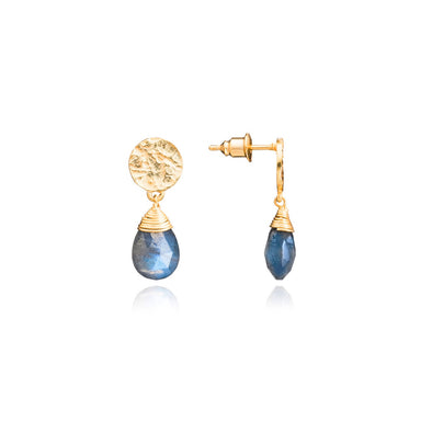 Gold Plated Earrings with Labradorite Gemstone