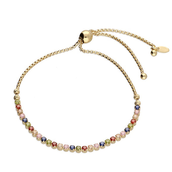 Rainbow CZ Gold Plated Silver Slider Bracelet