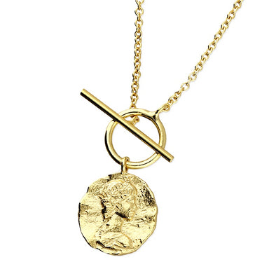 Vintage Coin Gold Plated Silver Necklace