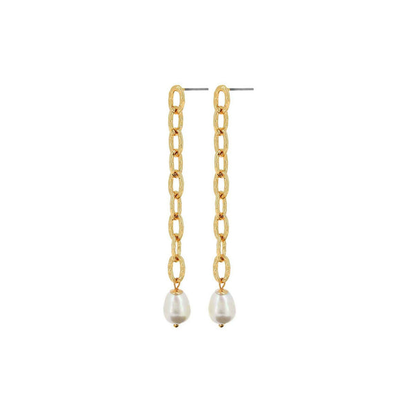 Amber Pearl and Chain Gold Plated Earring By Dansk