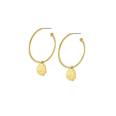 Gold Plated Hoop Earrings with Organic Drop by Dansk Copenhagen