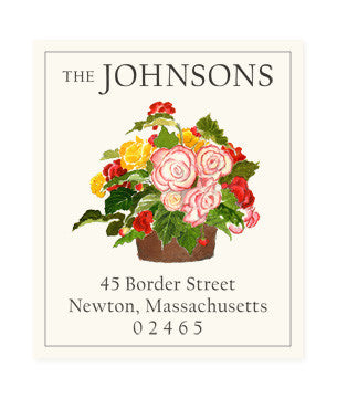 Begonia Bouquet - Return Address Labels