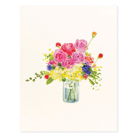 Flowers in Blue Jar - Occasion Card