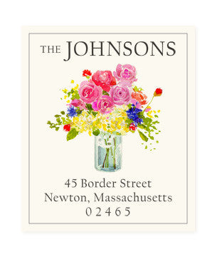 Flowers in Glass Jar - Return Address Labels