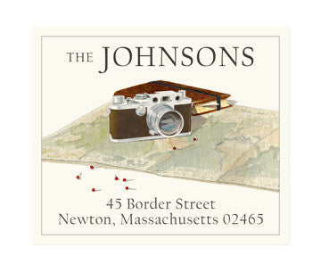 Map and Camera - Return Address Labels