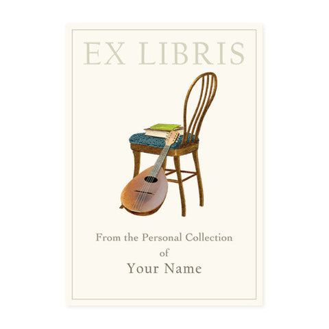 Wood Chair and Mandolin - Bookplates