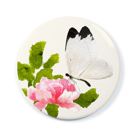 White Butterfly - Pocket Mirror