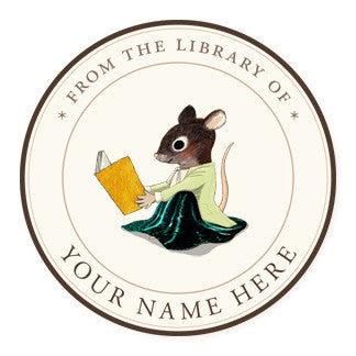 Reading Mouse - Ex Libris Medallions