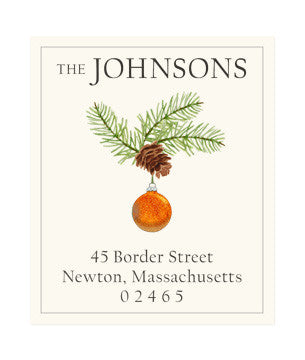 Ornament with Pine Cone - Return Address Labels