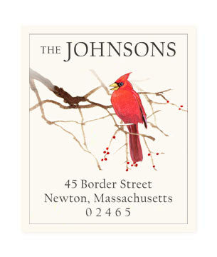 Cardinal And Red Berries - Return Address Labels