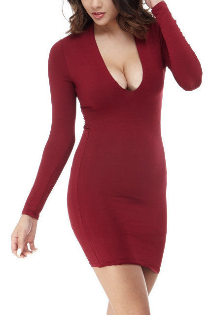 Alena Deep V Mini Small / Burgundy, Dresses - Fashion Trend LA, Fashion Trend LA  - 1