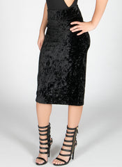 Black Crush Velvet Midi Skirt , Bottoms - Fashion Trend LA, Fashion Trend LA  - 2