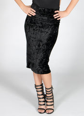 Black Crush Velvet Midi Skirt , Bottoms - Fashion Trend LA, Fashion Trend LA  - 1